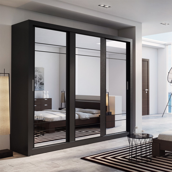Klassy 3 Door 250cm Black Matt Mirrored Sliding Door Wardrobe KL-02