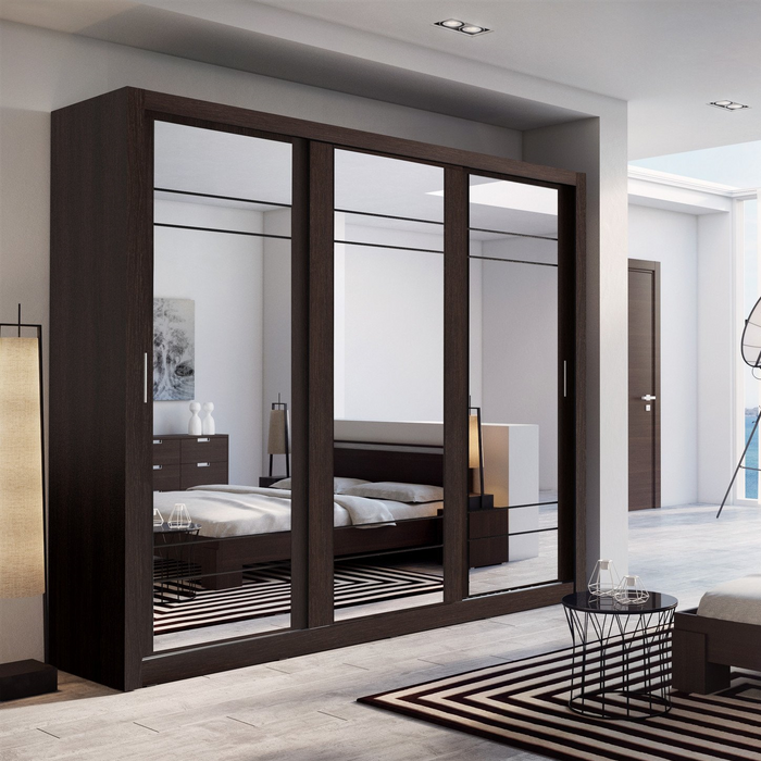 Klassy 3 Door 250cm Wenge Mirrored Sliding Door Wardrobe KL-02