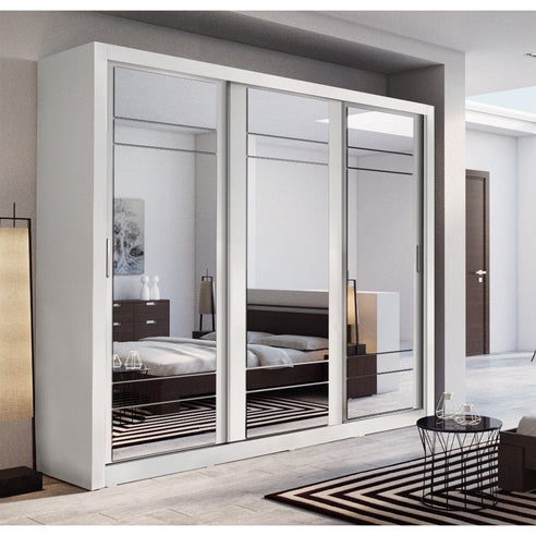 Klassy 3 Door 250cm White Mirrored Sliding Door Wardrobe KL-02 - FurniComp