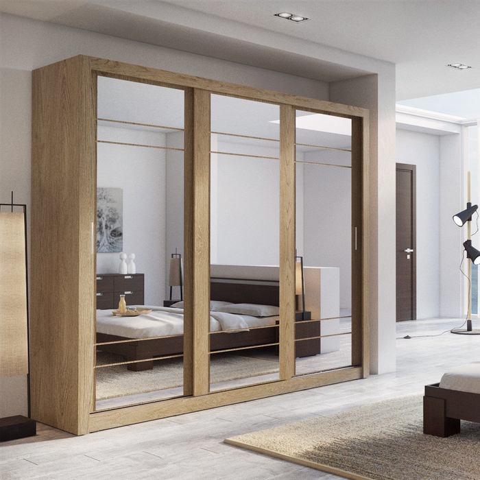Klassy 3 Door 250cm Oak Shetland Mirrored Sliding Door Wardrobe KL-02 - FurniComp