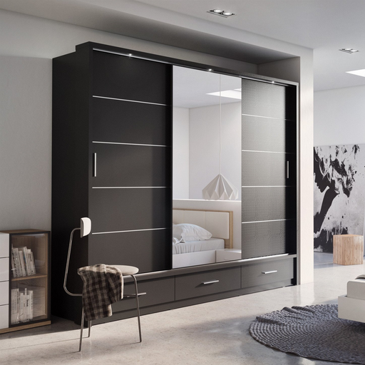 Klassy 3 Door 3 Drawer Black Matt Mirrored Sliding Door Wardrobe KL-01 - FurniComp