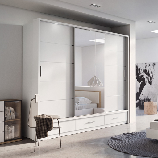 Klassy 3 Door 3 Drawer White Mirrored Sliding Door Wardrobe KL-01 - FurniComp