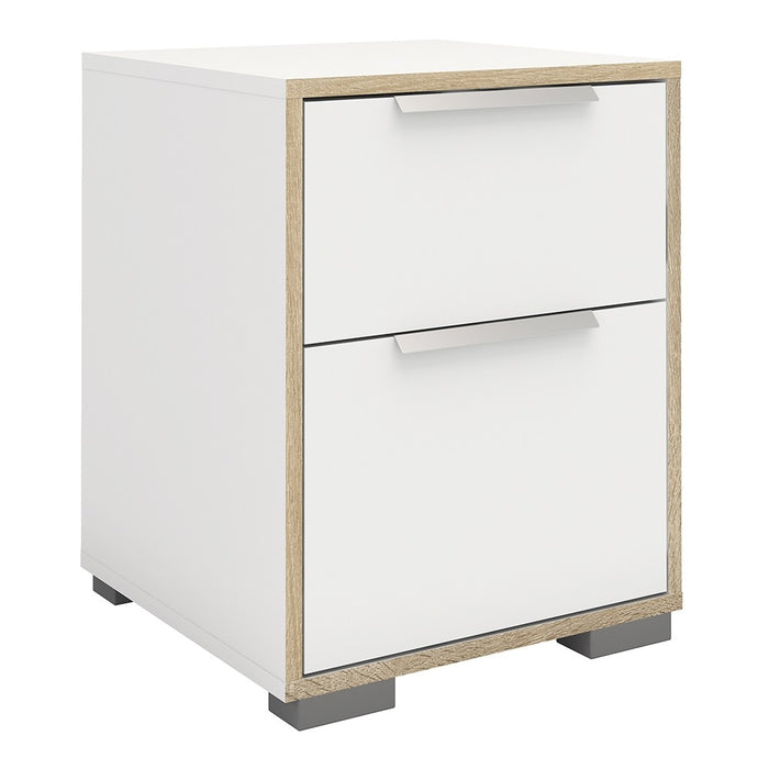 Lana 2 Drawers White and Oak Bedside - FurniComp