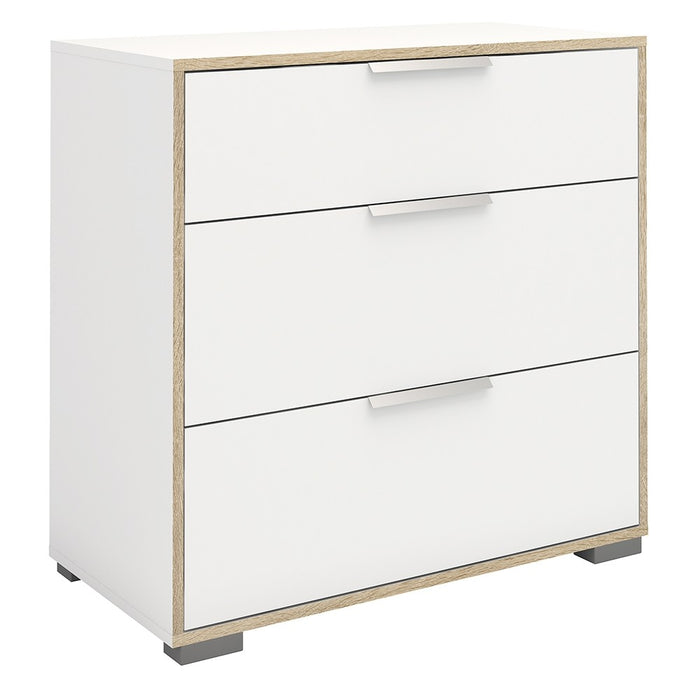 Lana 3 Drawers White and Oak Chest of Drawer - FurniComp