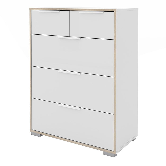 Lana 5 Drawers White and Oak Chest of Drawer - FurniComp