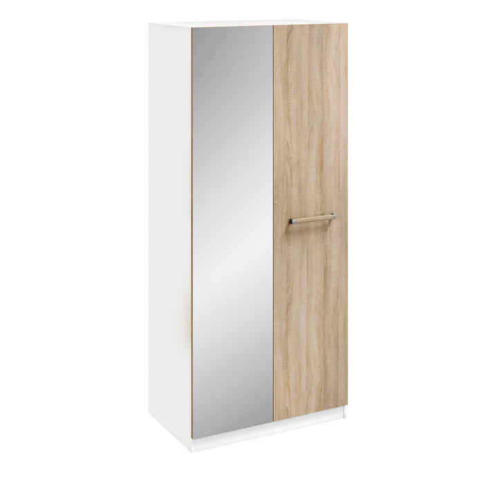 Lara White and Oak 2 Door Mirrored Wardrobe - FurniComp
