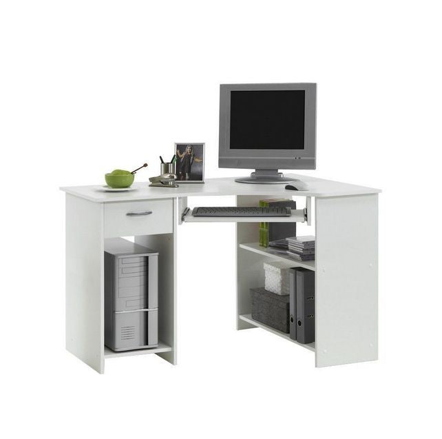 Lexi White Corner Desk With Drawer - FurniComp