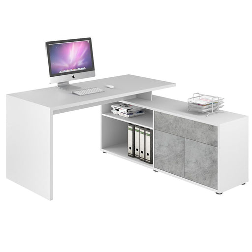 Lida Large Concrete Grey and White L Shaped Corner Desk - FurniComp