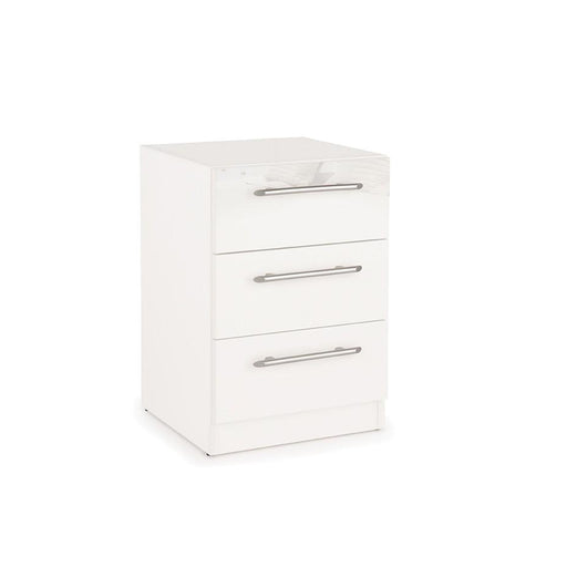 Lily 3 Drawer White Gloss Bedside - FurniComp
