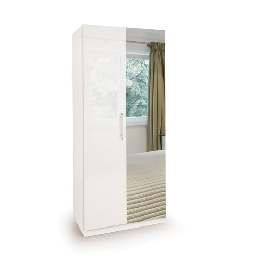 Lily High Gloss White 2 Door Mirrored Wardrobe - FurniComp