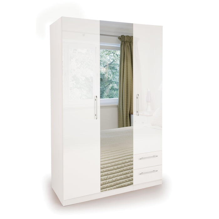 Lily High Gloss White 3 Door 2 Drawer Mirrored Wardrobe - FurniComp