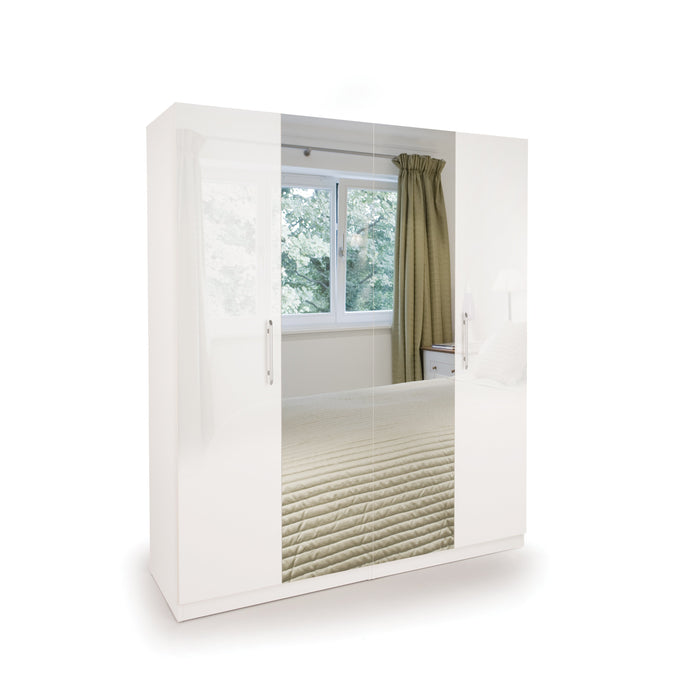 Lily High Gloss White 4 Door Mirrored Wardrobe - FurniComp