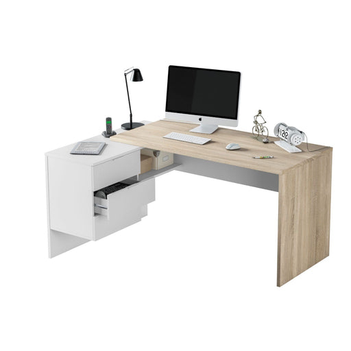 Lincoln Oak and White Corner Home Office Desk - FurniComp