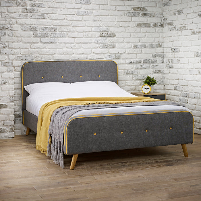 Corby Grey and Yellow Button Retro Fabric Bed - FurniComp