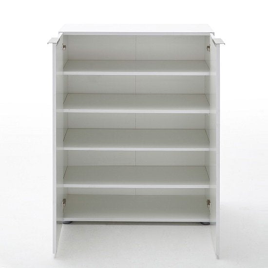 Lola Modern Shoe Cabinet In White High Gloss With 2 Doors SC1019