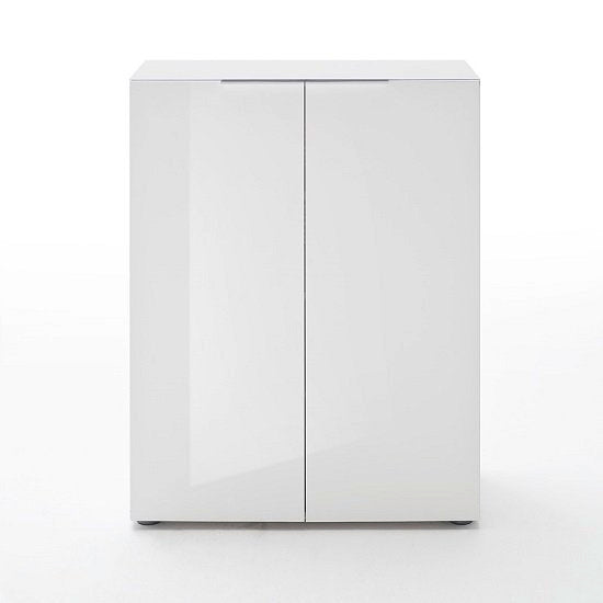 Lola Modern Shoe Cabinet In White High Gloss With 2 Doors SC1019 - FurniComp