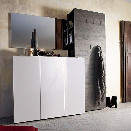 Lola Wide Shoe Cabinet In White High Gloss With 3 Doors SC1012