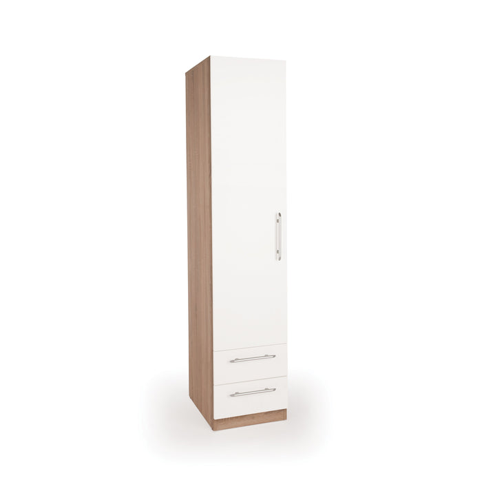 Louise Oak and White 1 Door 2 Drawer Wardrobe - FurniComp