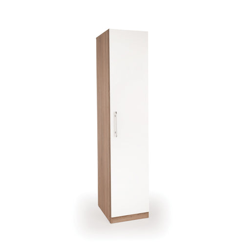 Louise Oak and White 1 Door Wardrobe - FurniComp