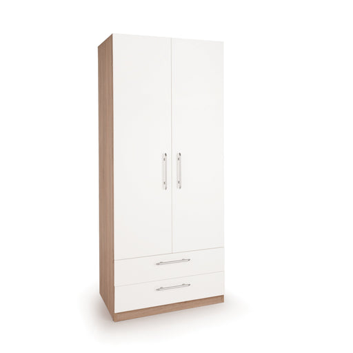 Louise Oak and White 2 Door 2 Drawer Wardrobe - FurniComp