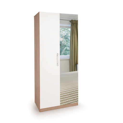 Louise Oak and White 2 Door Mirrored Wardrobe - FurniComp