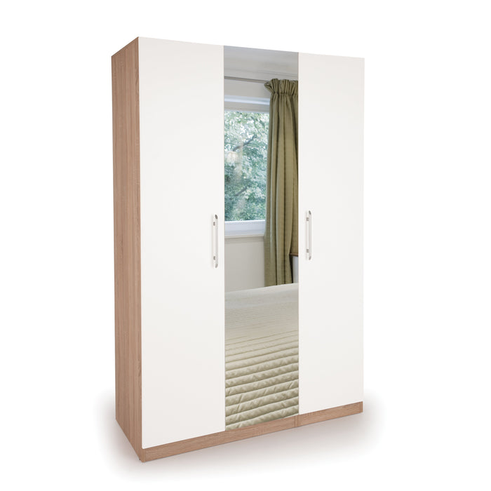 Louise Oak and White 3 Door Mirrored Wardrobe - FurniComp