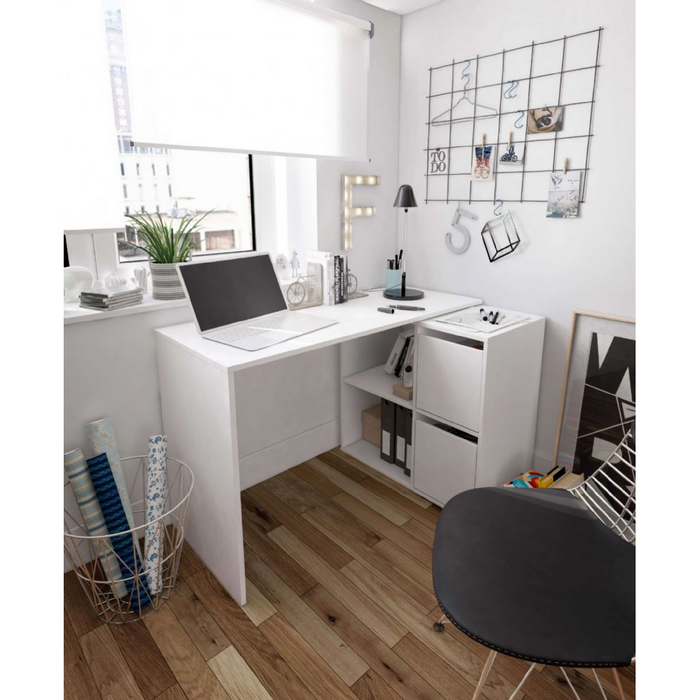 Lunar White L Shaped Reversible Corner Desk - FurniComp
