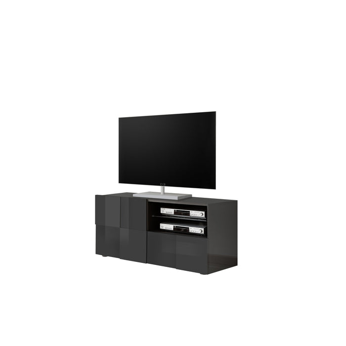Lyon 1 Door 1 Drawer Small Grey Gloss TV Unit - FurniComp