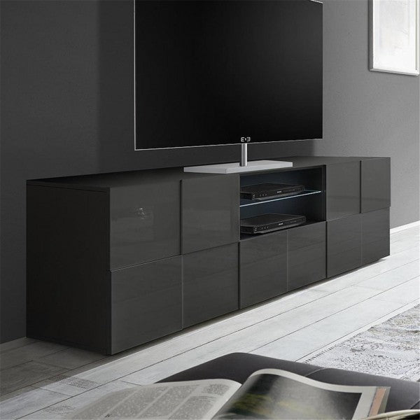 Lyon 2 Door 1 Drawer Large Grey Gloss TV Unit - FurniComp