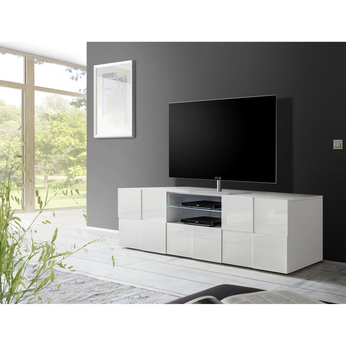 Lyon 2 Door 1 Drawer Large White Gloss TV Unit - FurniComp