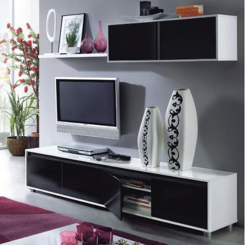 Lyon Black and White Gloss TV Cabinet With Wall Unit