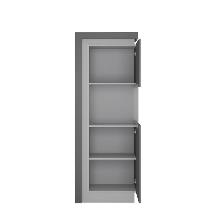 Geneva Platinum And Light Grey Gloss Narrow LED Display Cabinet (RHD) - FurniComp