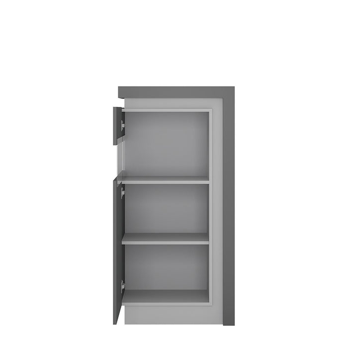 Geneva Platinum And Light Grey Gloss Narrow Short LED Display Cabinet (LHD) - FurniComp