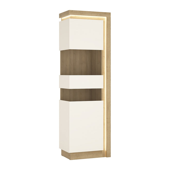 Geneva White Gloss And Oak Tall Narrow LED Display Cabinet (LHD) - FurniComp