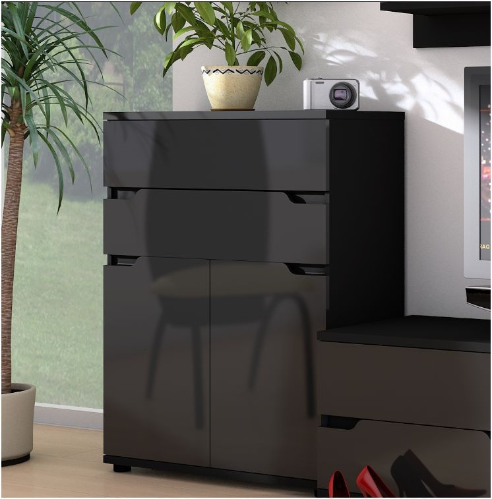 Madeira Tall Narrow Black Gloss Sideboard Storage Cupboard