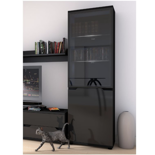 Madeira Black Gloss Display Cabinet Shelving Storage Unit - FurniComp
