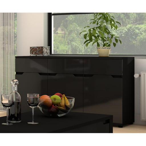 Madeira Black Gloss Wide Sideboard Storage Cabinet Cupboard Unit