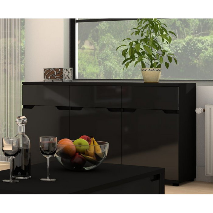 Madeira Black Gloss Wide Sideboard Storage Cabinet Cupboard Unit - FurniComp