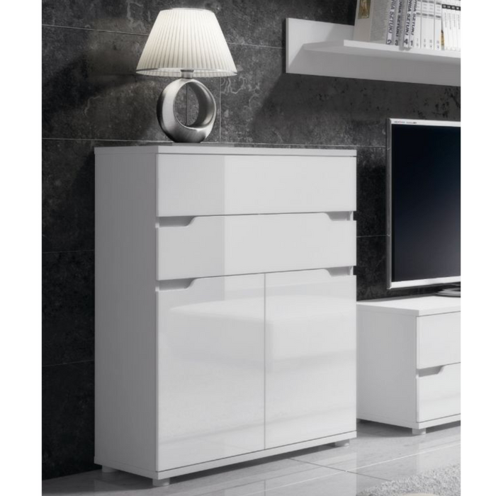 Madeira Tall Narrow White Gloss Sideboard Storage Cupboard - FurniComp