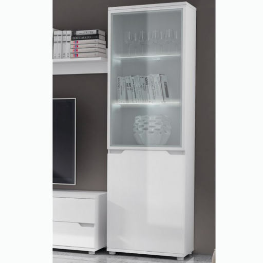 Madeira White Gloss Display Cabinet Shelving Storage Unit