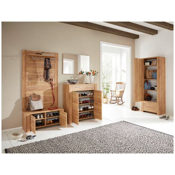 Madrid 1 Drawer 2 Door Oak Shoe Cabinet - FurniComp