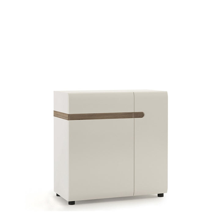 Mainz 2 Door 1 Drawer White Gloss and Oak 85cm Sideboard - FurniComp