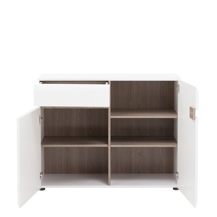 Mainz 2 Door 1 Drawer White Gloss and Oak Sideboard - FurniComp