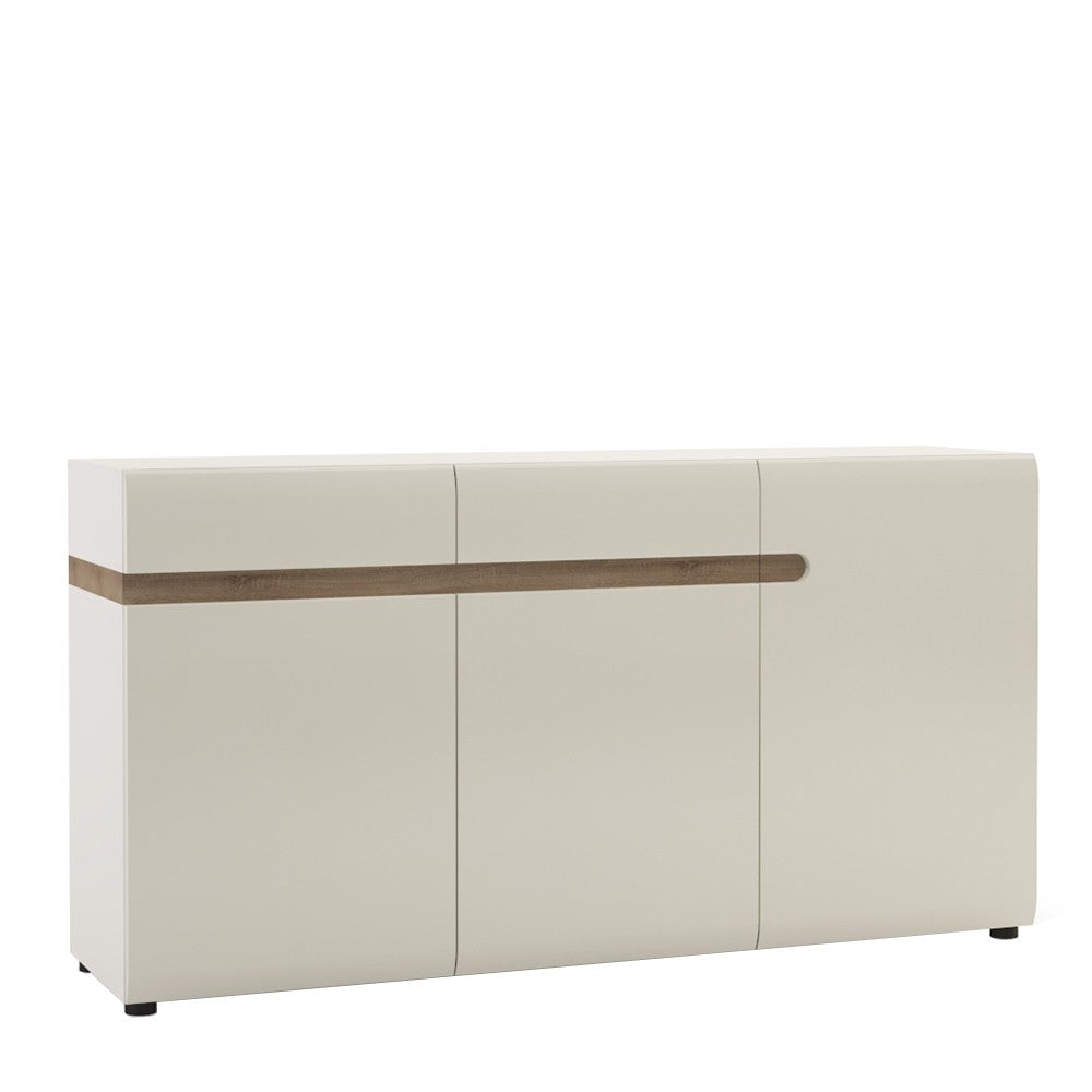 Mainz 3 Door 2 Drawer White Gloss and Oak Sideboard