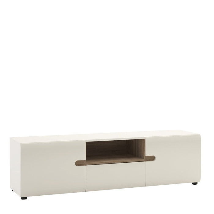 Mainz White And Oak Wide 2 Door 3 Drawer TV Unit - FurniComp
