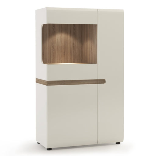 Mainz White Gloss and Oak Low Display Cabinet 85cm wide - FurniComp