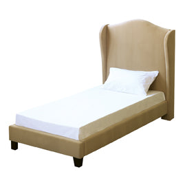 Manor Soft Beige Velvet Winged Headboard Bed - FurniComp