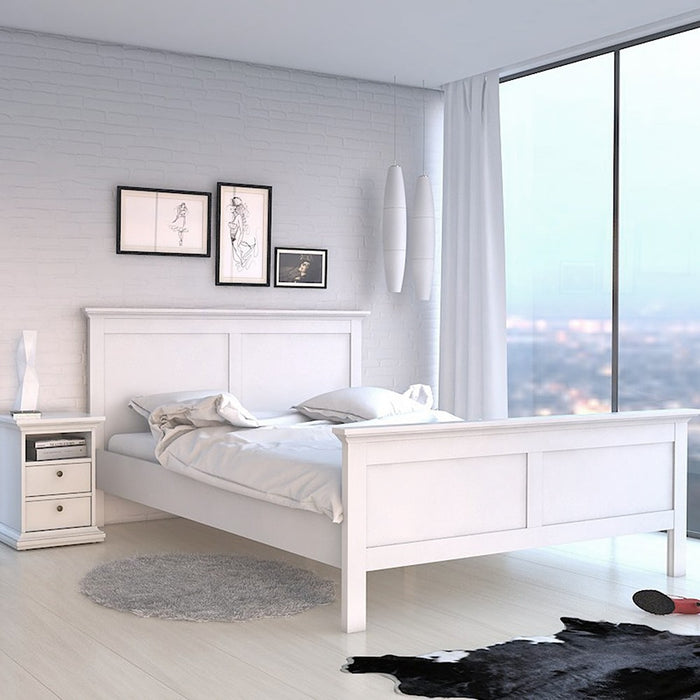 Marseille 2 Drawer White Bedside - FurniComp