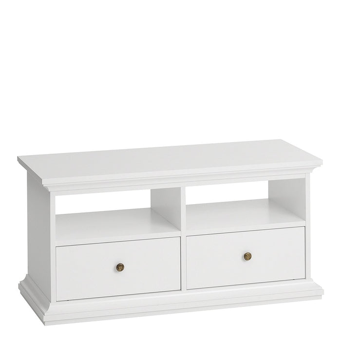 Marseille White 2 Drawer 2 Shelves TV Unit - FurniComp