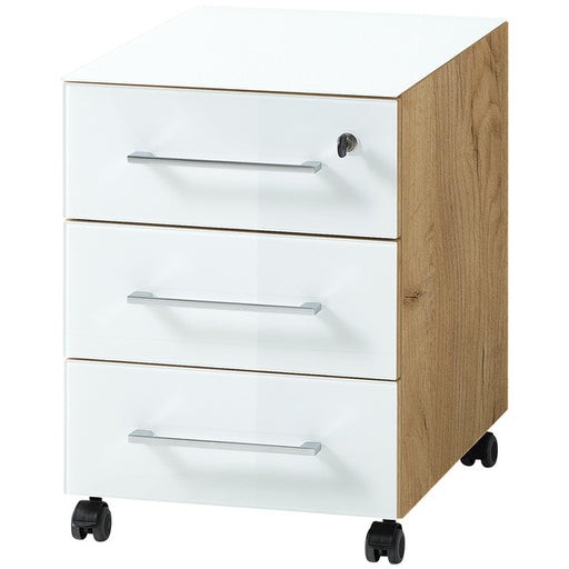 Marta 3 Drawer White and Oak Glass Front Drawer Pedestal - FurniComp